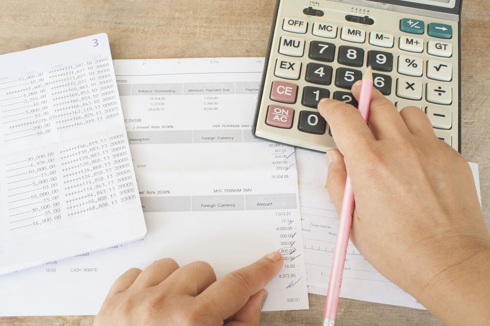 Hand Checking Document Monthly Expense and Check Disbursement