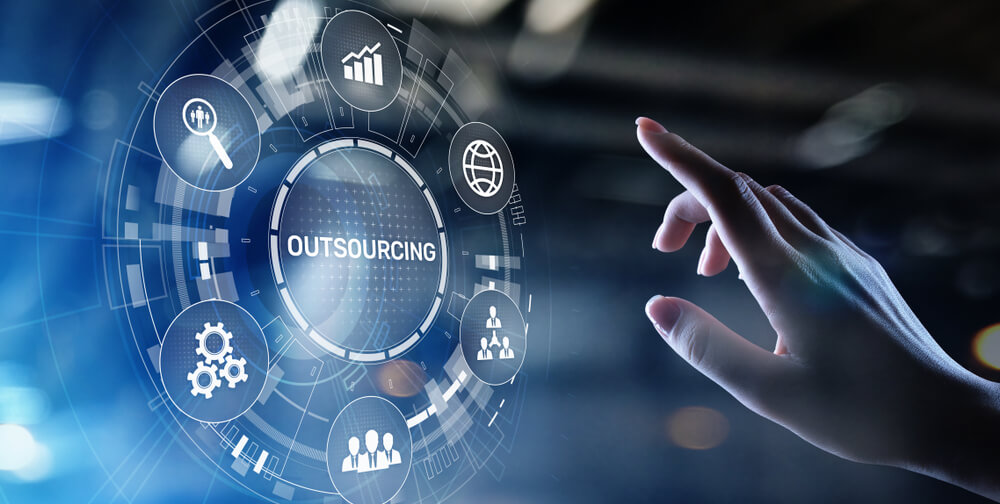 Outsourcing Global Recruitment HR Concept on Virtual Screen