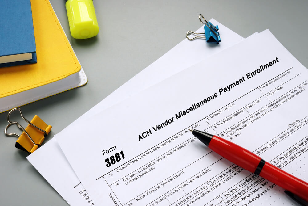 Form 3881 With ACH Vendor Miscellaneous Payment Enrollment Phrase on the Page.