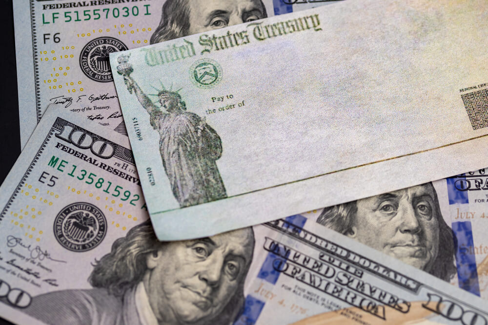 United States Treasury Check Issued for Economic Impact Payment or IRS Tax Refund With Us Currency